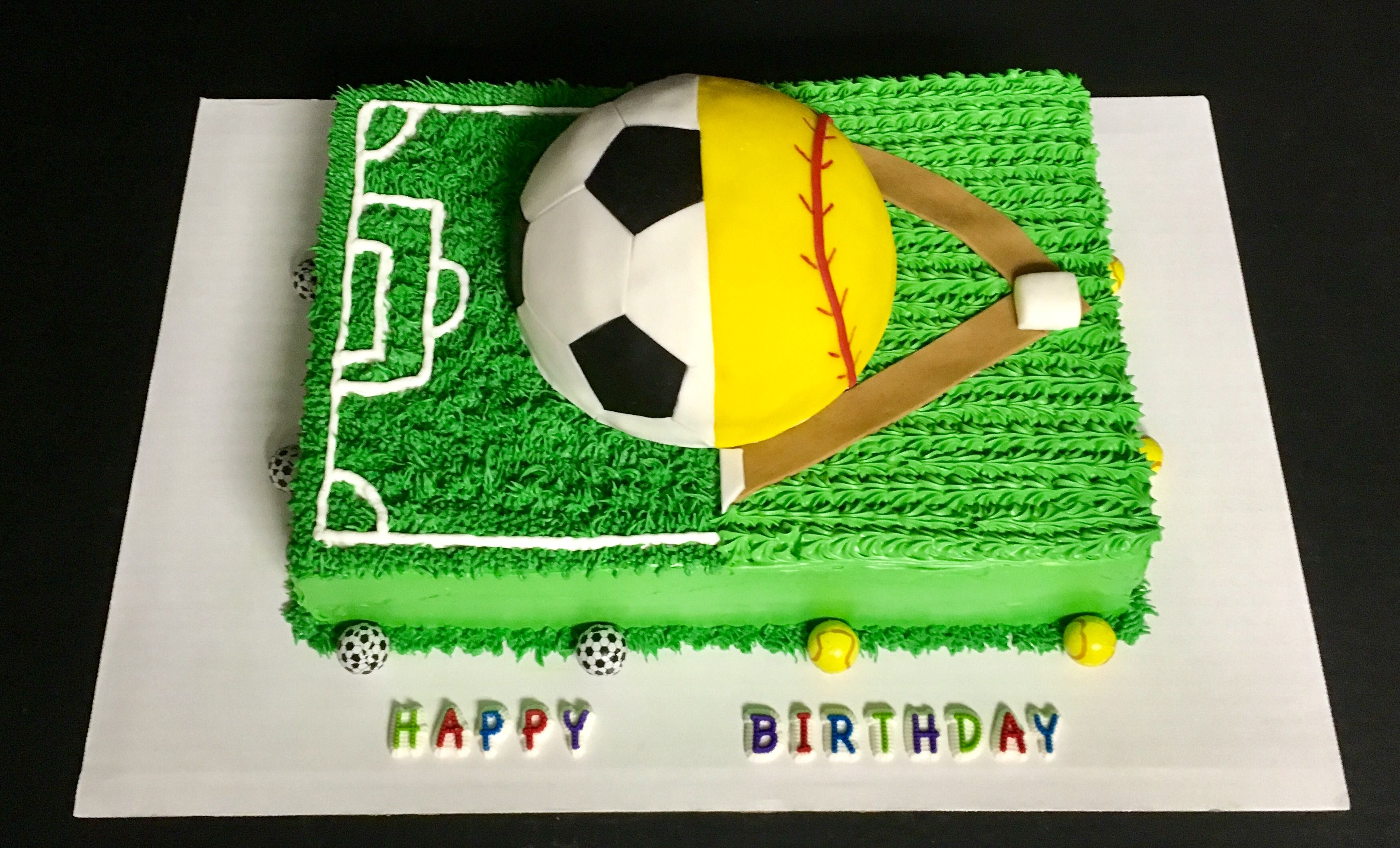 Half Soccer Half Softball Cake When You Can T Decide Choose Both Soccer Birthday Cakes Softball Birthday Cakes Soccer Birthday