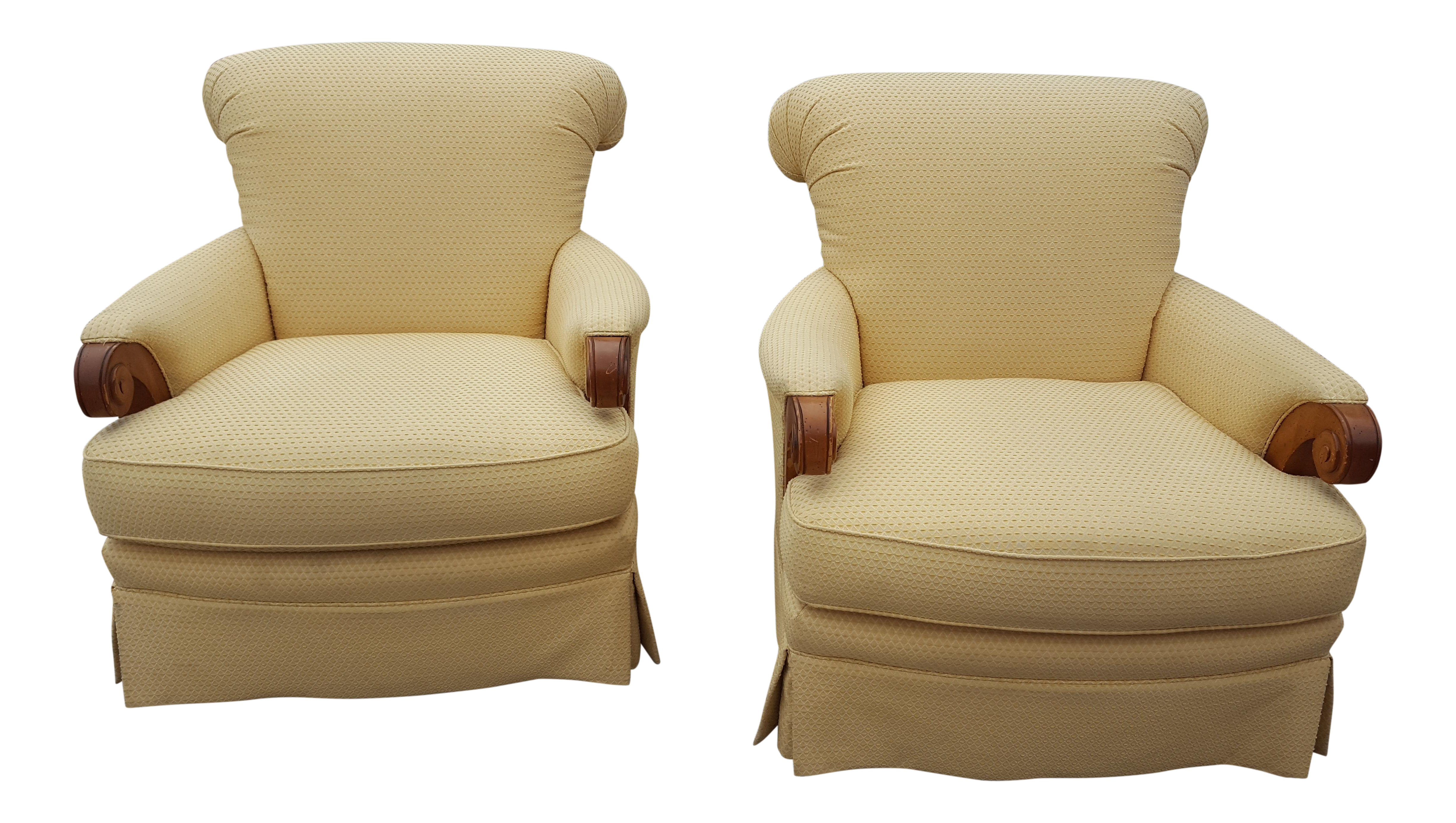 Large Roll Back Upholstered Chairs A Pair Upholstered