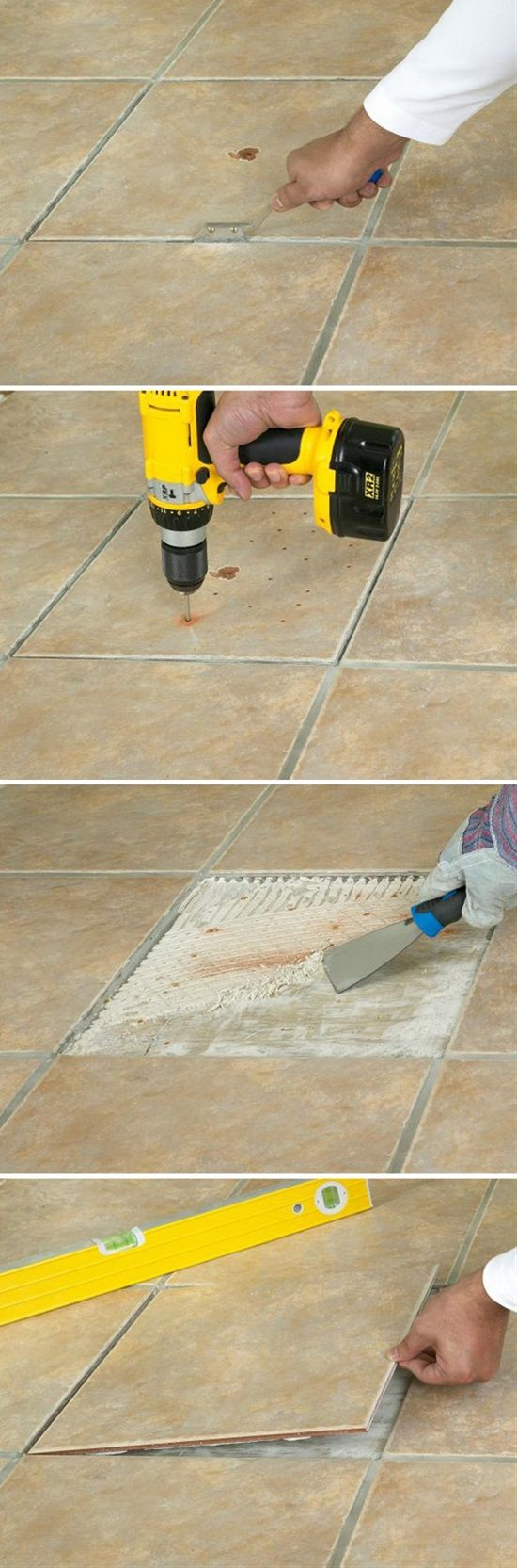15 useful home repair tips hacks generators internet and doors how to replace a broken floor tile dailygadgetfo Gallery