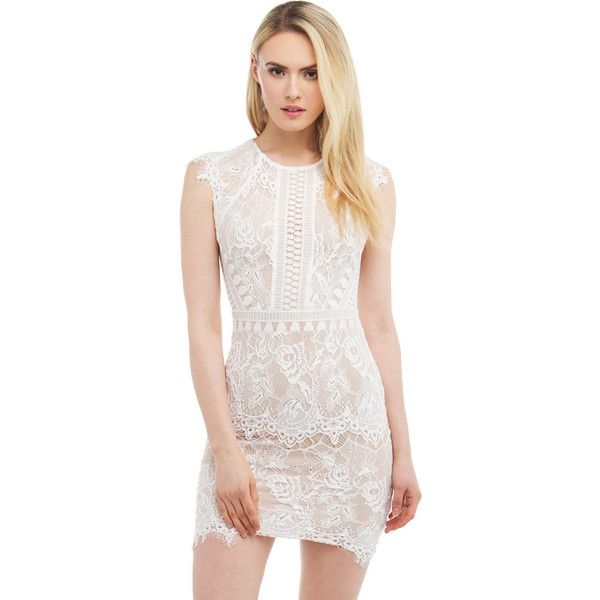 AKIRA Black Label The Great Lace Dress - White ($55) ❤ liked on Polyvore featuring dresses, white, lacy white dress, cap sleeve lace cocktail dress, exposed zipper dress, cap sleeve dress and short cap sleeve lace dress