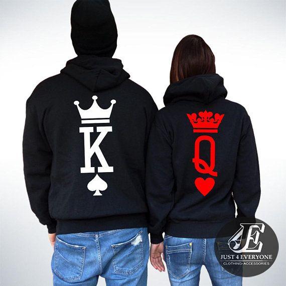 17d64d3cee King Queen, King Queen Hoodies, Couple Hoodies, Couple Sweatshirts, Pärchen  Pullover, King Queen Swe