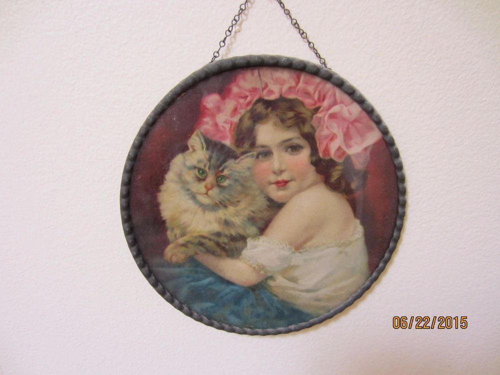 Antique victorian flue cover Girl with Cat | Antiques ...