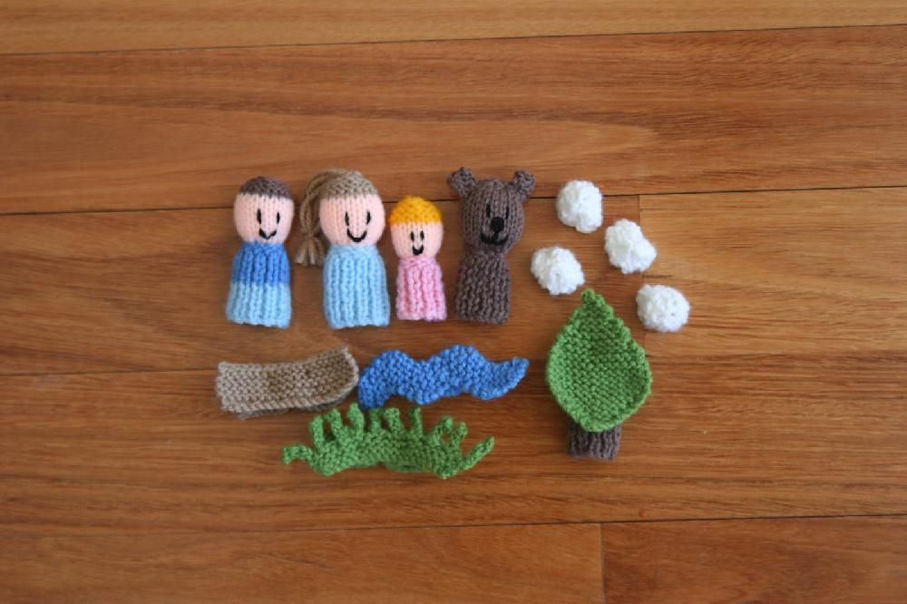 9 Finger Friends Knitting Patterns Were Going On A Bear Hunt