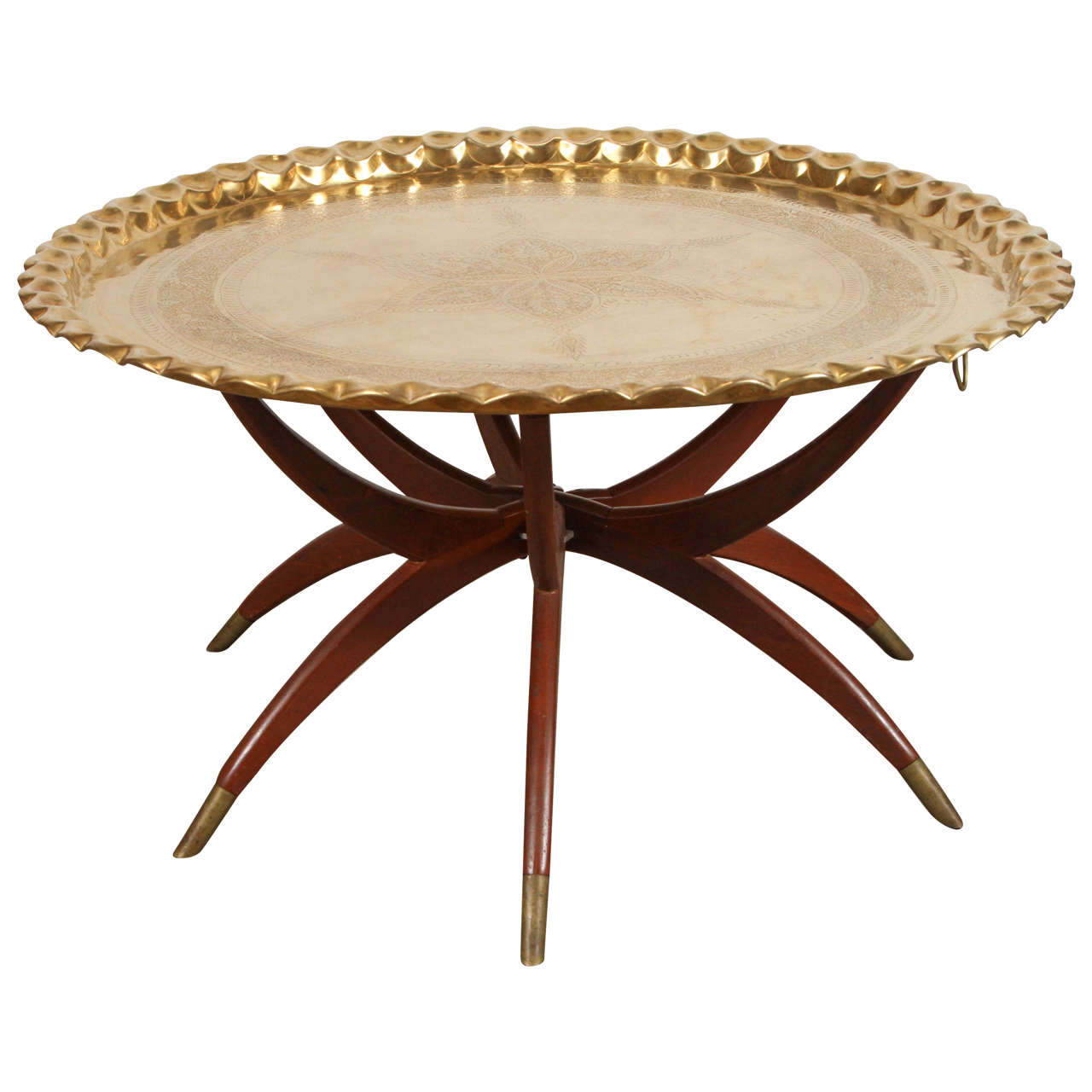 Moroccan Brass Tray Table On Spider Folding Stand Brass Tray