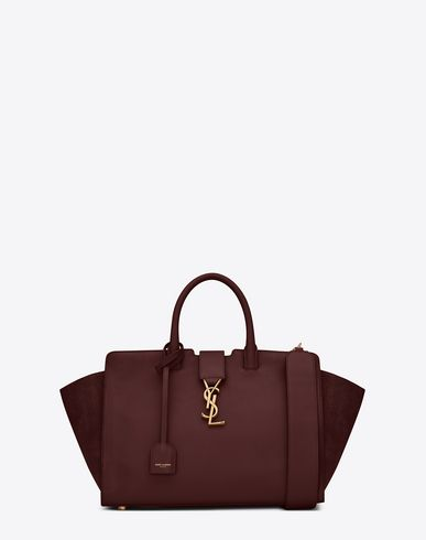 56a08e359872 SAINT LAURENT SMALL MONOGRAM SAINT LAURENT DOWNTOWN CABAS YSL BAG IN DARK  RED LEATHER AND SUEDE