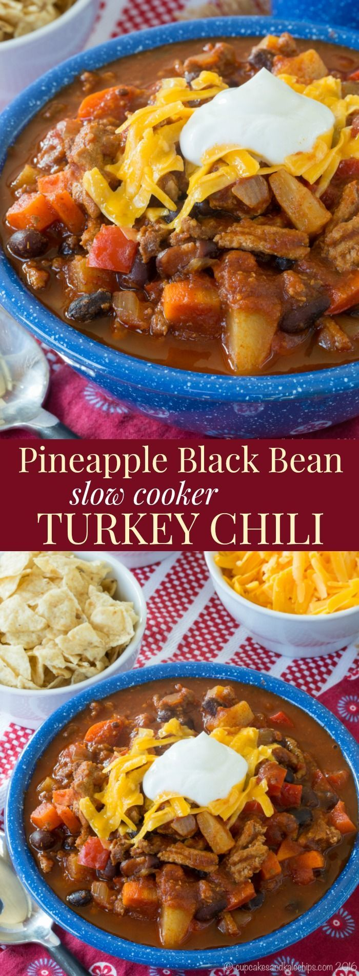 Pineapple Black Bean Slow Cooker Turkey Chili - a healthy
