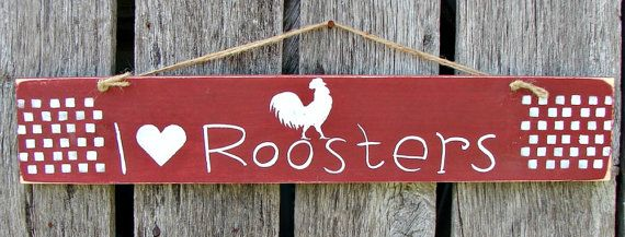 Hand painted rustic rooster sign by KimsPrimitiveCrafts on Etsy