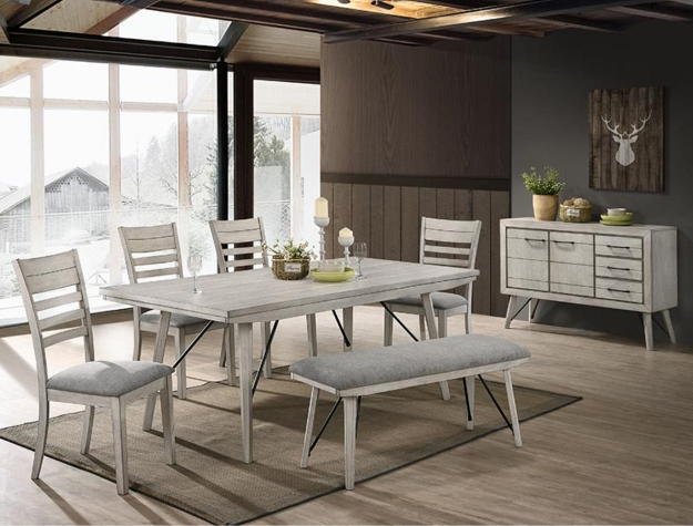 2132t 4079 6 Pc Wila Arlo Interiors White Sands Antique White Finish Wood Dining Table Set With Bench Wood Dining Table White Dining Room Chairs Dining Table