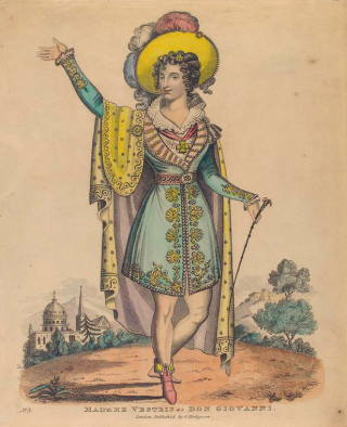 London Theater, via Word Wenches. Madam Vestris as Don Giovanni.