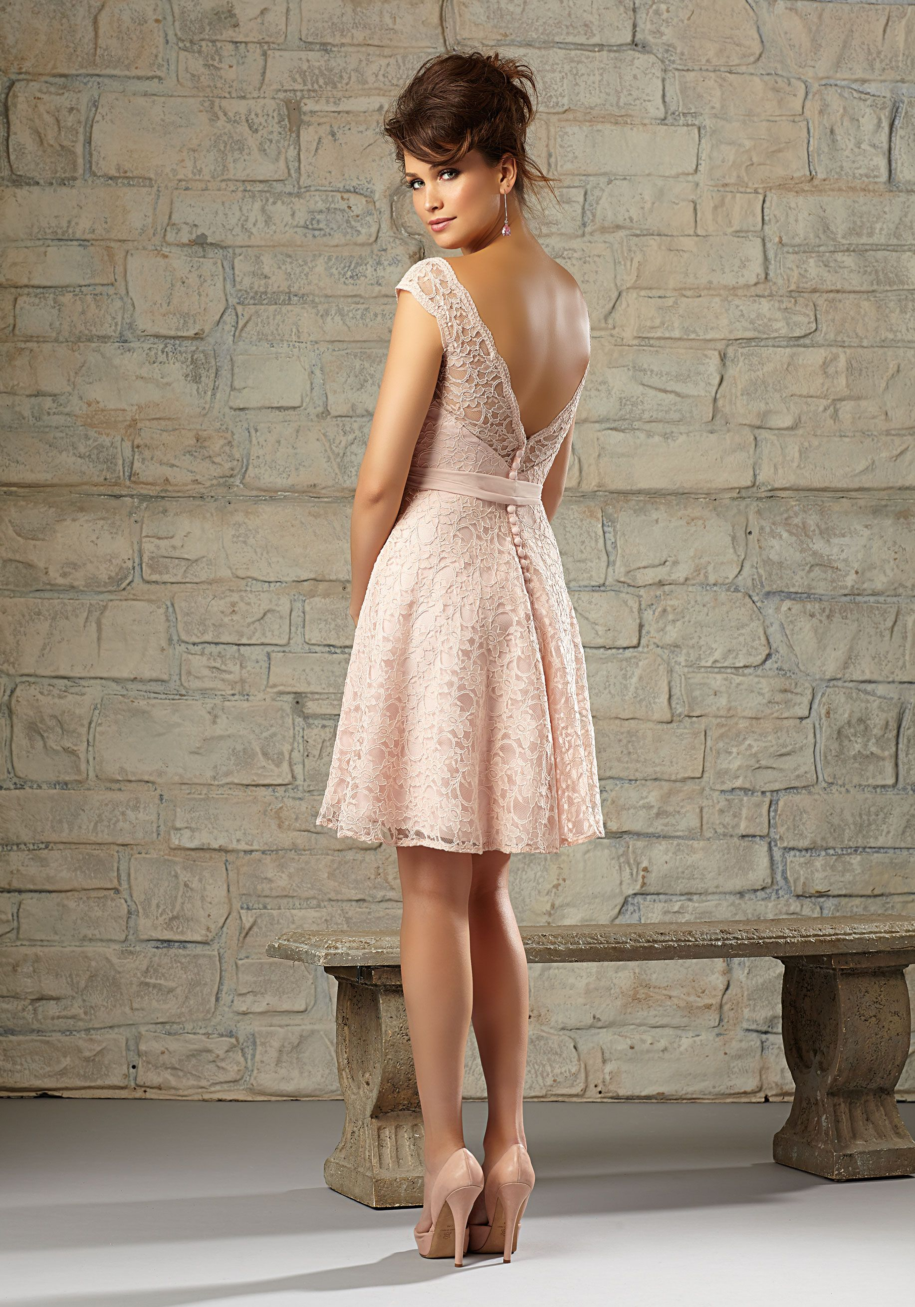 Romantic Knee Length Lace Bridesmaid Dress Designed By Madeline Gardner Zipper Back Pink Bridesmaid Dresses Short Short Bridesmaid Dresses Bridesmaid Dresses