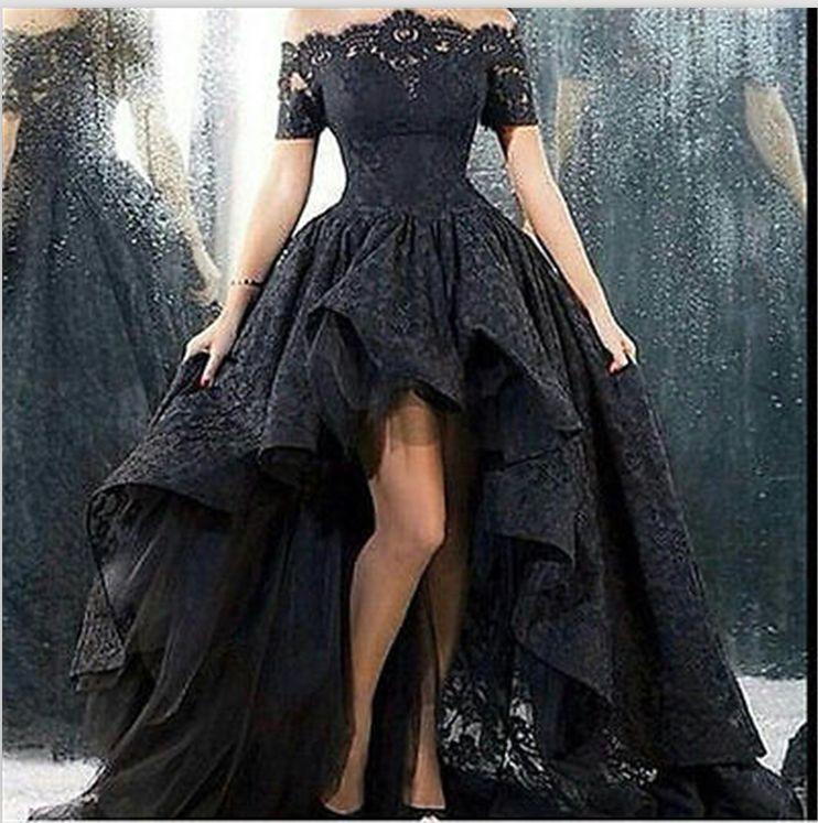 Details zu 2016 Neu Schwarz Spitze Hochzeitskleid Ballkleid ...