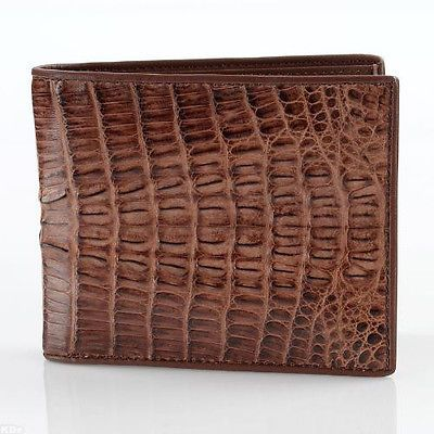 GENUINE CROCODILE ALLIGATOR SKIN LEATHER COIN BAGS PURSES MEN/'S BROWN WALLETS