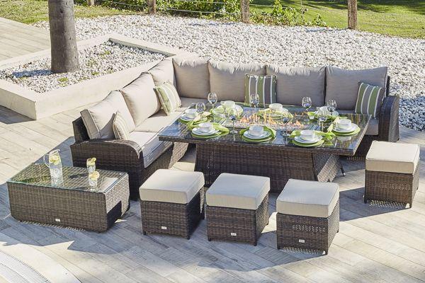 Garden Table With Gas Fire Pit, Rattan Garden Furniture With Gas Fire Pit Table
