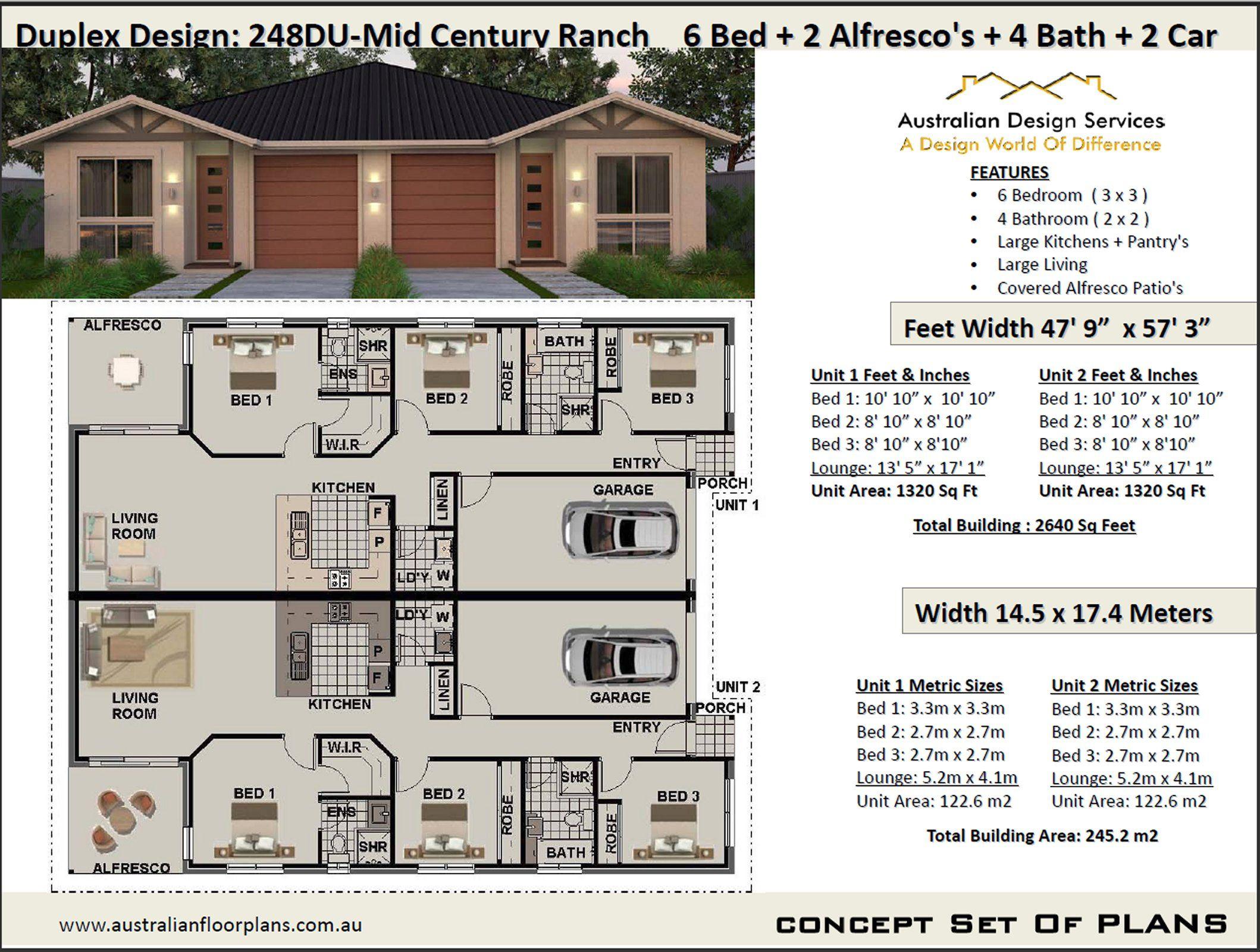 Mid Century Duplex Design 6 Bed 4 Bath 2 Cars Duplex House Plans 248duranch Duplex Design Duplex Plans Duplex House Plans