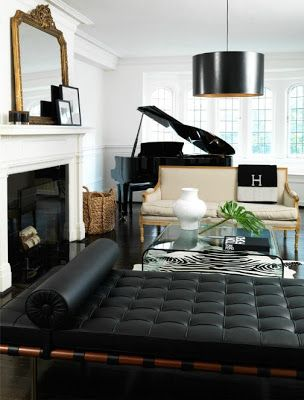 Stunning Black White Living Room With A Grand Piano Classic Chaise Lounge REMINDS ME OF RACHEL
