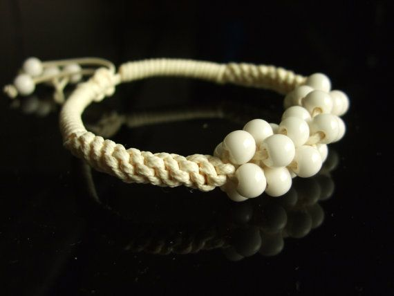 Ceramic Beaded bracelet jewelry Handmade white by dermusensohn2000, $14.99
