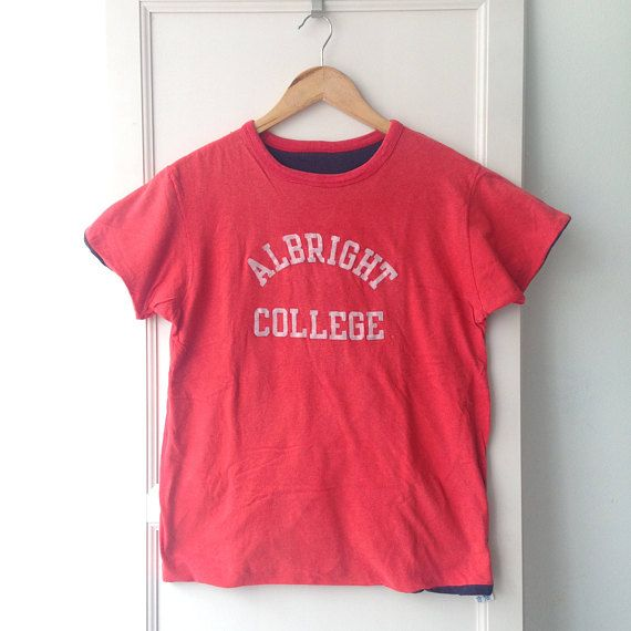 Vintage 1980s Champion Albright College Reversible Tee M Made In USA R5ANXvh3Vo
