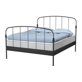 Lillesand Bed Frame Black Length 82 1 4 Width 63 3 8 Footboard Height 41 3 4 Headboard Height 51 5 8 Mattress Le Ikea Bed Ikea Metal Bed Full Bed Frame