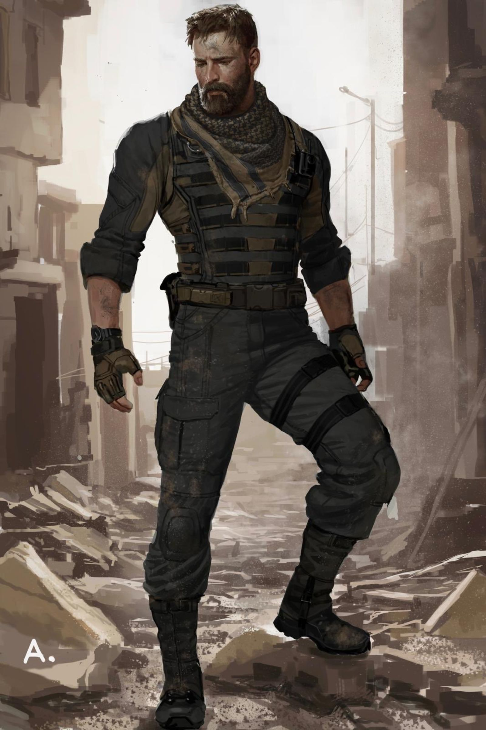 This Infinity War Concept Art of Captain America Without His Costume Rocks Our World