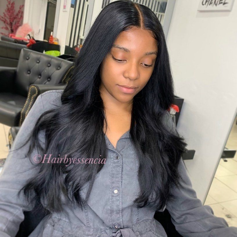 Full Head Install With 5x5 Lace Closure No Adhesive Custom