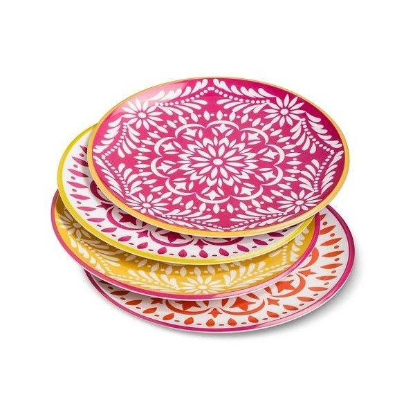 Marika Melamine Dinner Plates Set of 4 Pink/Red (105 CNY) ❤ liked  sc 1 st  Pinterest & Marika Melamine Dinner Plates Set of 4 Pink/Red (105 CNY) ❤ liked ...