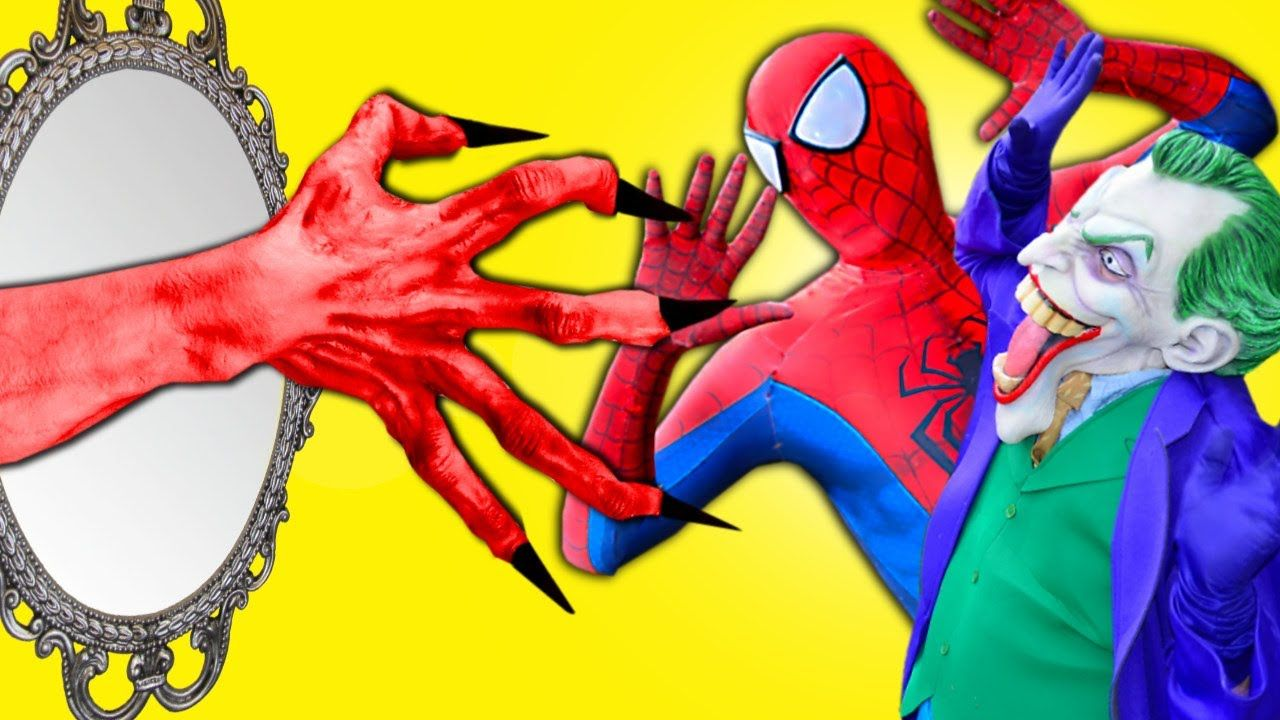 Spiderman Vs Red Hand From Mirror W Joker Princess Rapunzel In Real Spiderman And Frozen Superhero Spiderman Real Life Video