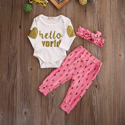 3 Pcs Baru Lahir Bayi Perempuan Kapas Baju Monyet Celana Legging Headband Pakaian Pakaian Set Con Imagenes Ropa De Colores Ropa Bebes De Algodon