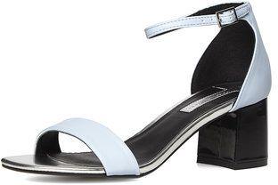 Blue flared mid heel sandals