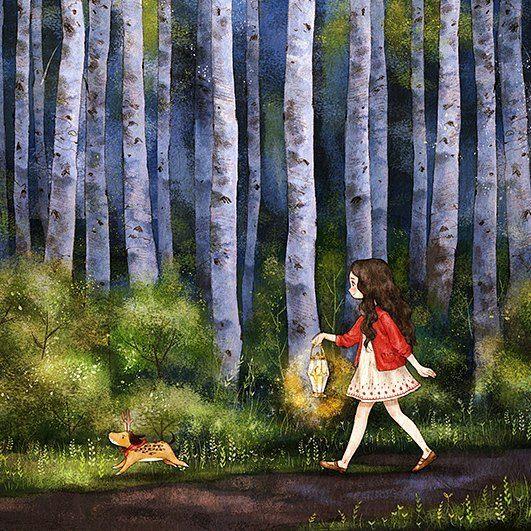 Рисунок девочка в лесу