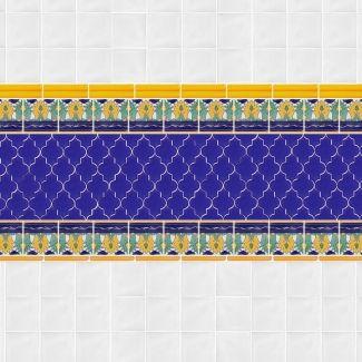 12x12 Mesh Mounted Mamounia Ceramic Tile 3x4 Mosaic - Nocturnal Sea