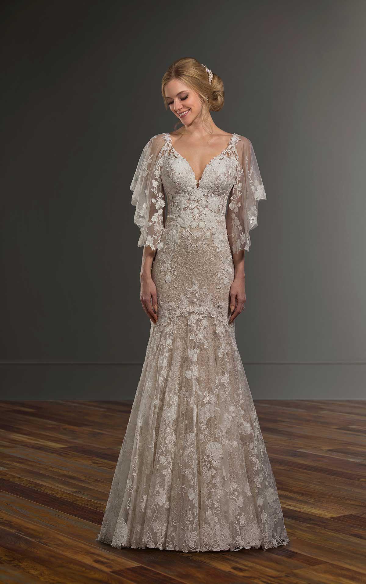 Boho Wedding Dress with Detachable Flutter Sleeves