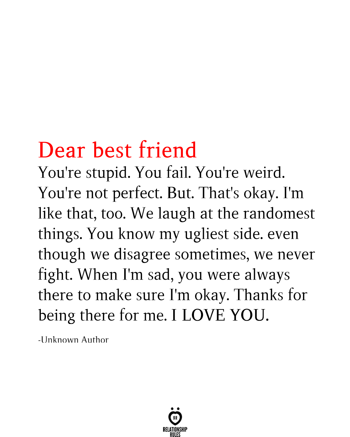 Relationship Rules A Lifestyle Brand For The Heart My Best Friend Quotes Friends Quotes Best Friend Quotes Funny