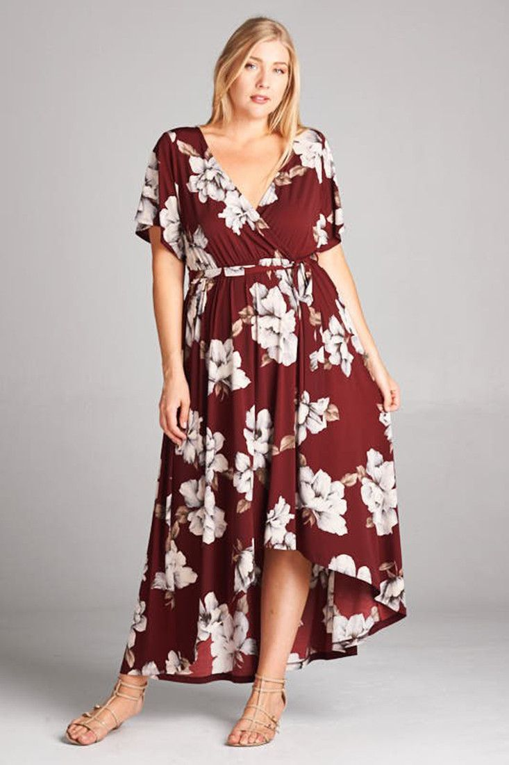 2a2a907f404 Short Sleeve Wine Floral Bohemian Wrap Maxi Dress – Niobe Clothing ...