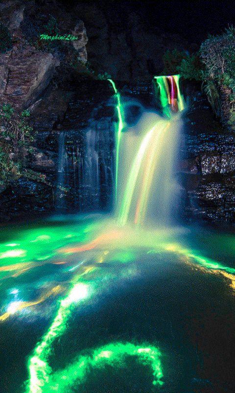 Waterfalls Lit With Glow Sticks Waterfall Waterfall Lights Live Wallpapers Beautiful wallpaper gif images