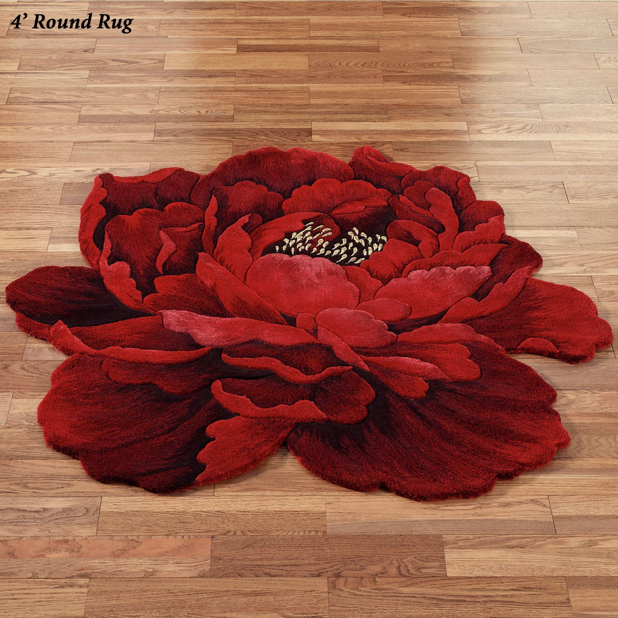 Scarlet Magic Peony Flower Shaped Round Rugs Floral rug