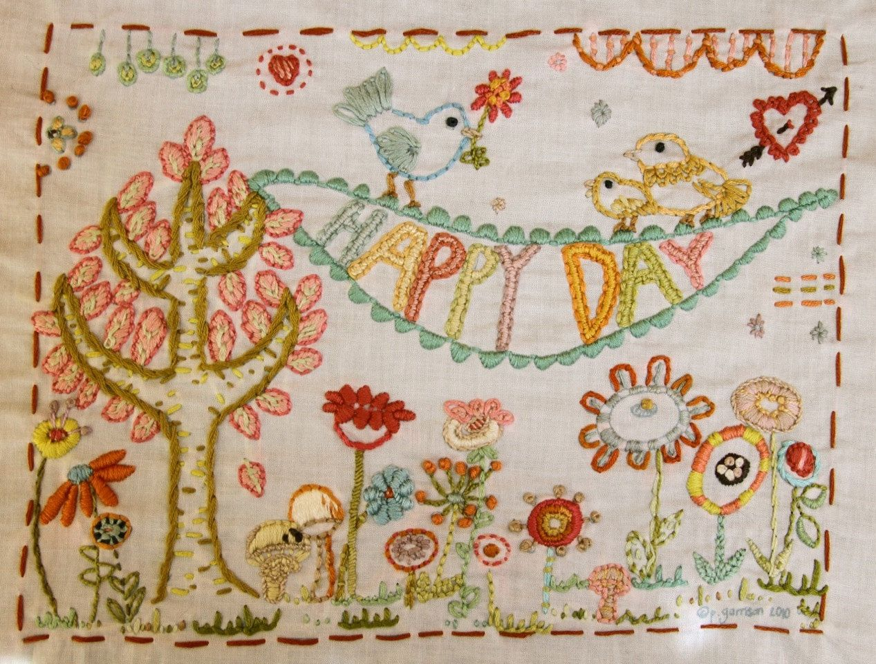 Happy Day Embroidery Pattern