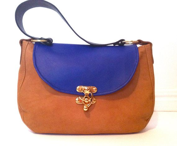 dafedf73e6 Blue and Tan Kangaroo Leather Shoulder Handbag, SomAndTooby | My ...