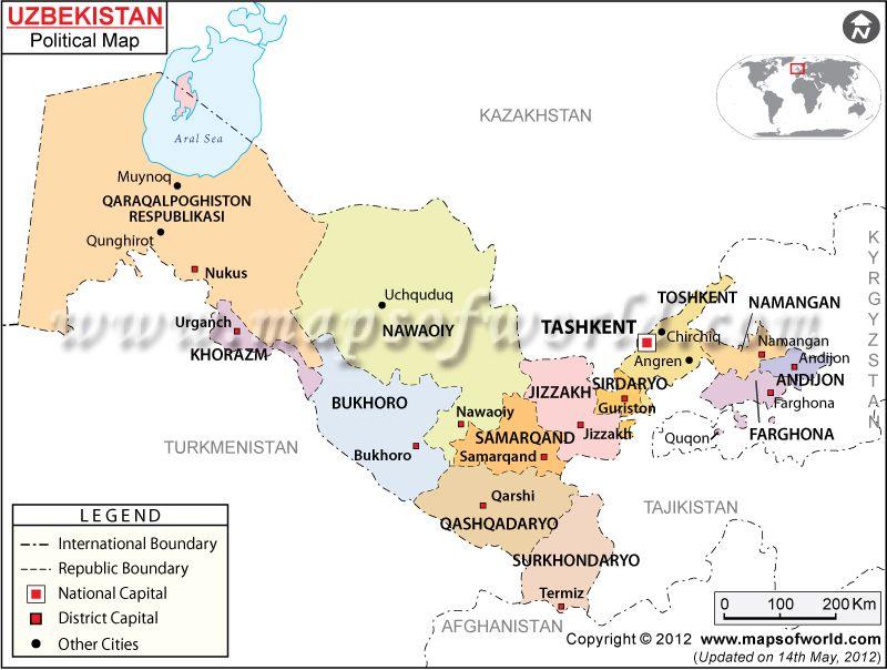 Mapa Poltico de Uzbekistn
