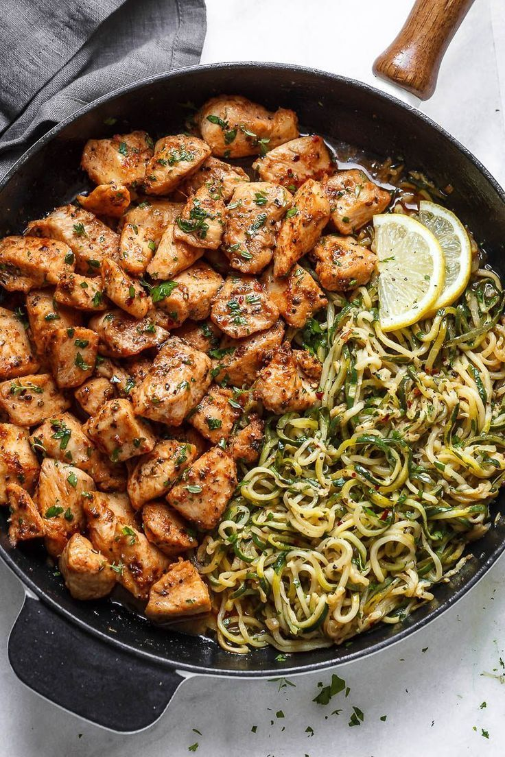 Garlic Butter Chicken Bites with Lemon Zucchini Noodles #deliciousfood