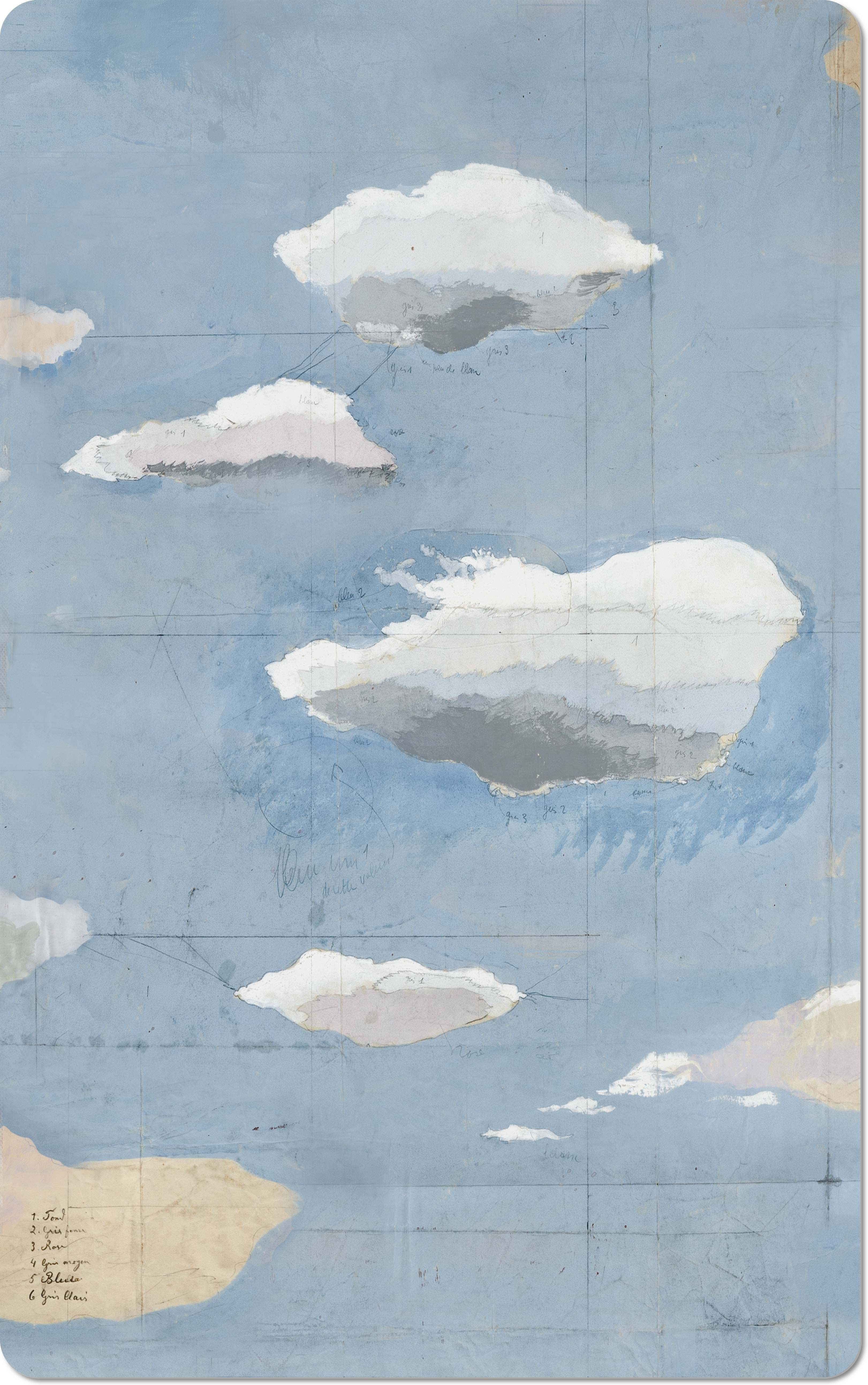 Paule Marrot Les Nuages 2 Blue And White Clouds Framed
