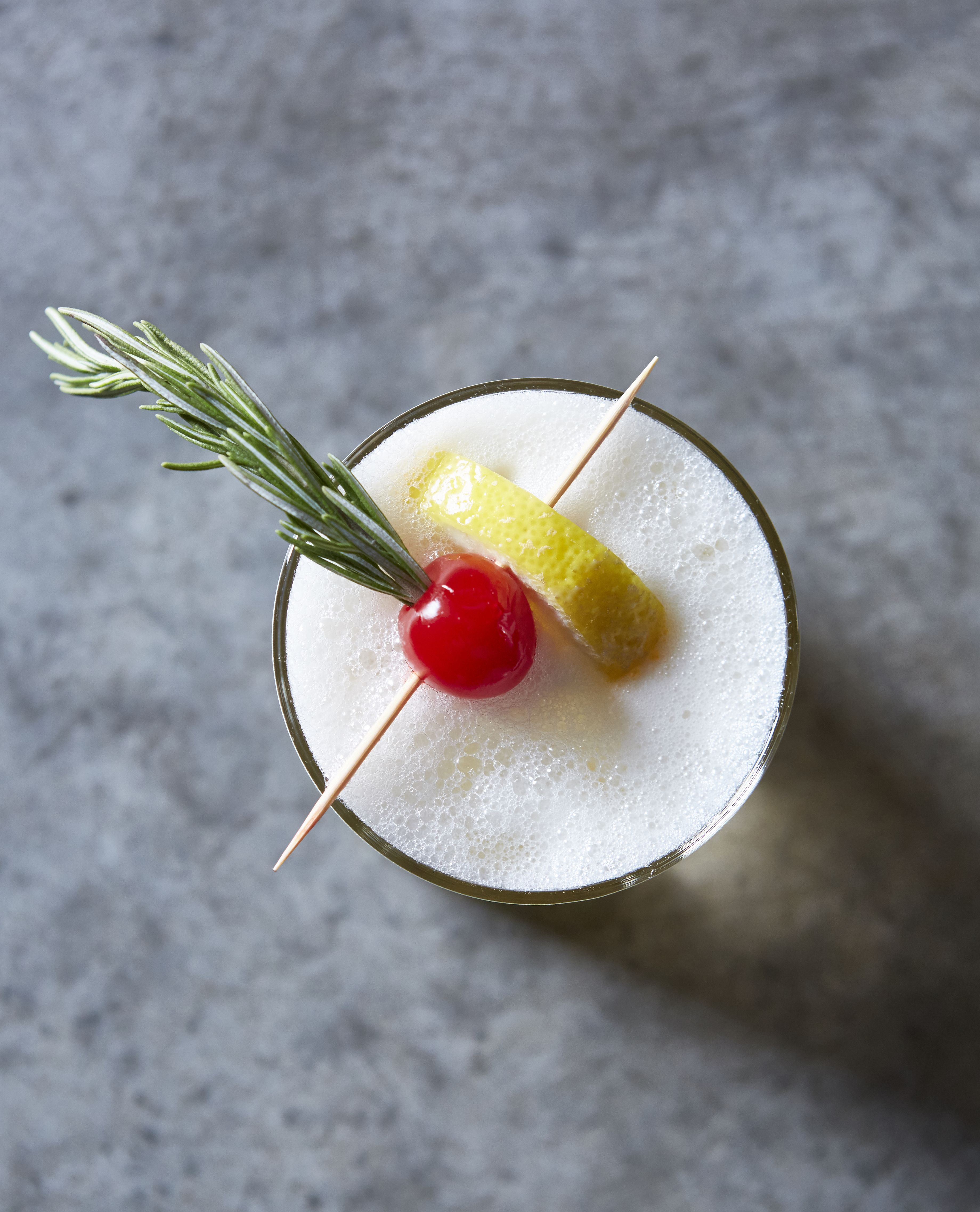 DHD Rosemary Ginger Whiskey Sour -Bin 7 Wheat Whiskey -2 oz rosemary ginger sour mix -1/2 oz egg ...