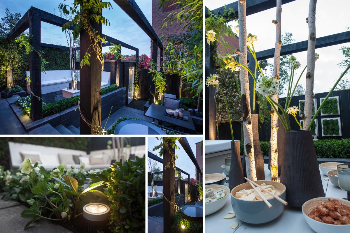 Het eindresultaat van de chique zwart wit tuin in eigen for Huis in de tuin