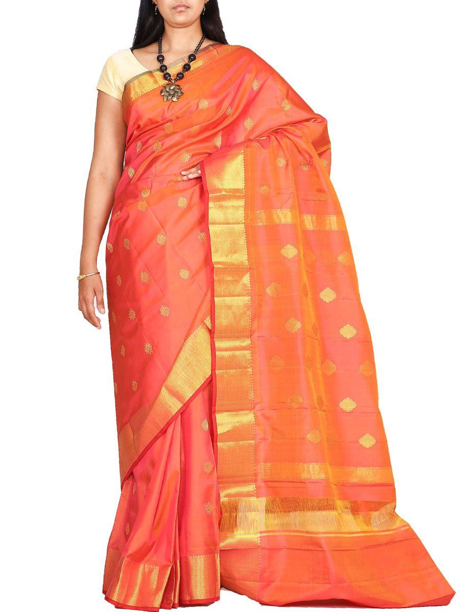 Buy Orange Kanchi Silk Handloom Saree Small Buta Design • EthnicRoom. Shop at www.ethnicroom.com