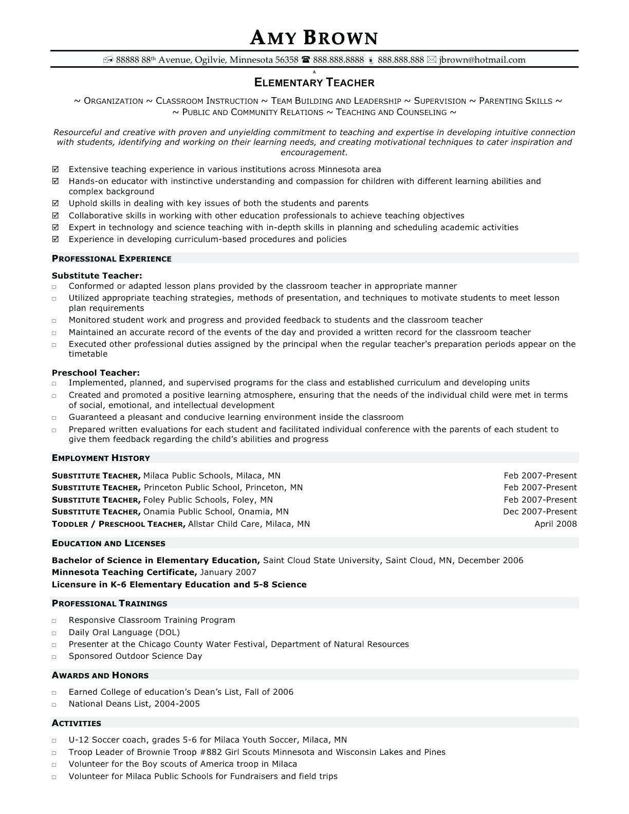 Paraprofessional Job Description For Resume Elegant Teaching Resumes Elementary Teacher Resume Teacher Resume Template Teacher Resume Examples