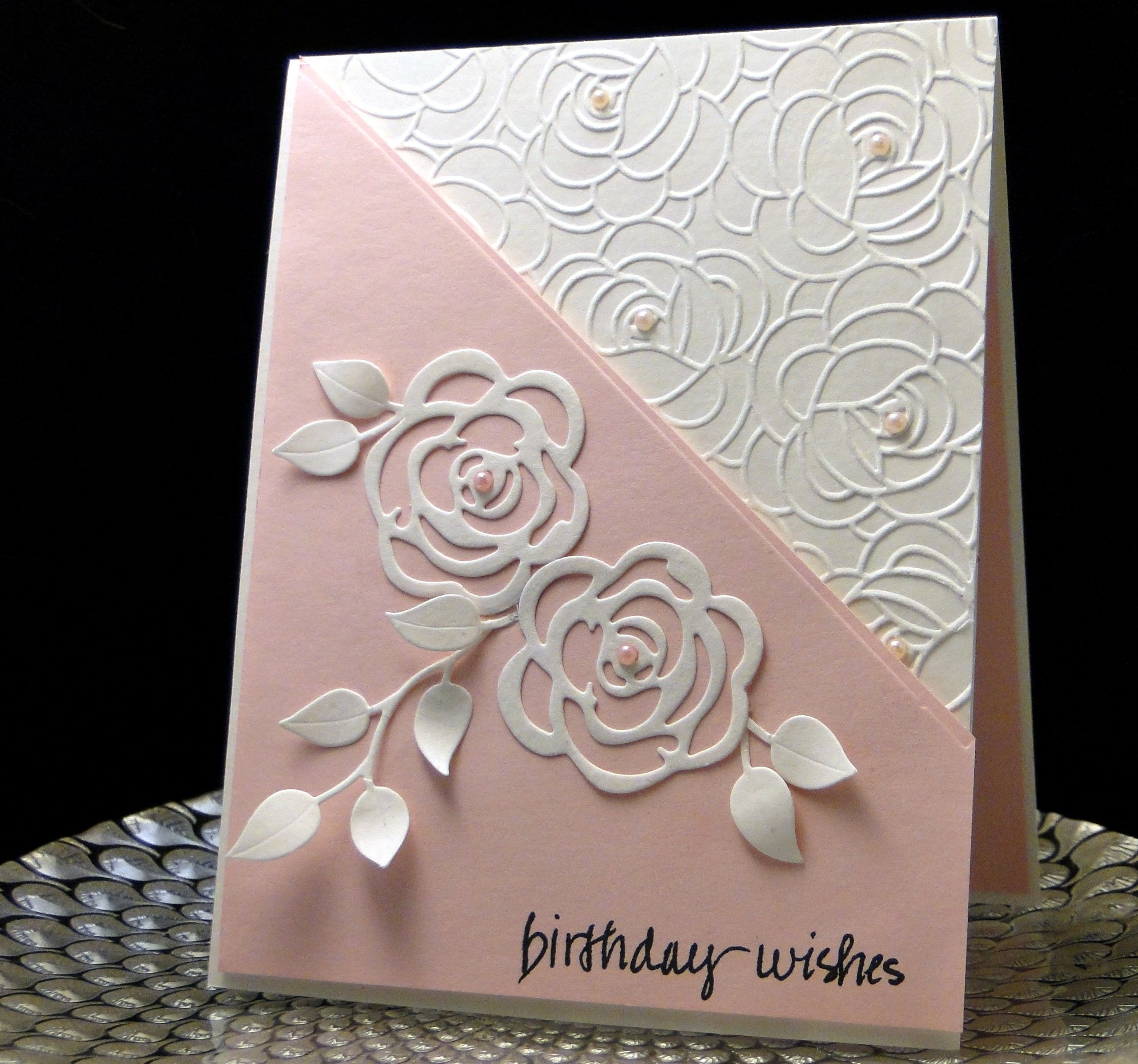 Bday card for Sue M 2016 Taylored Expression Rose EF Made by Peggy Dollar