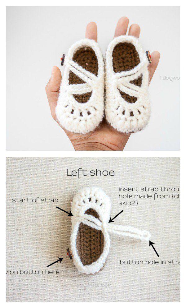 Crochet Baby Mary Jane Booties Free Patterns   Handarbeiten und Ideen