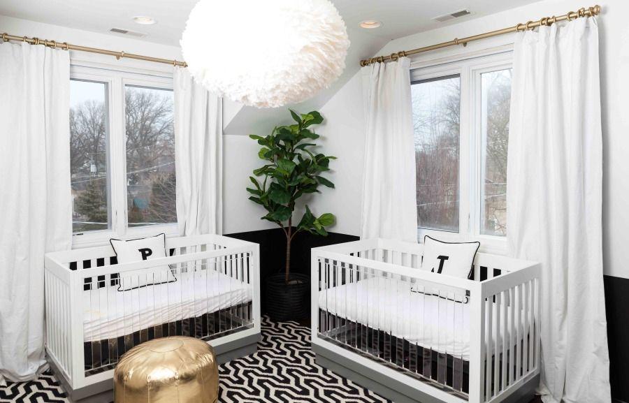 Pulling off a modern gender neutral nursery for twins nursery