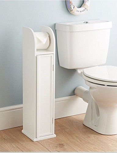 Free Standing White Wooden Toilet Roll Holder U0026 Storage Cabinet By Dylex