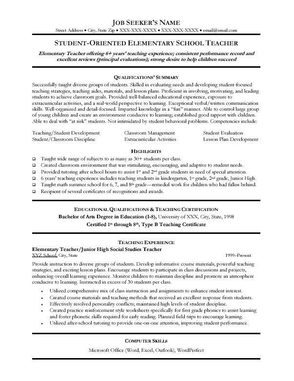Teacher Resumes  Resume Template College Elementary