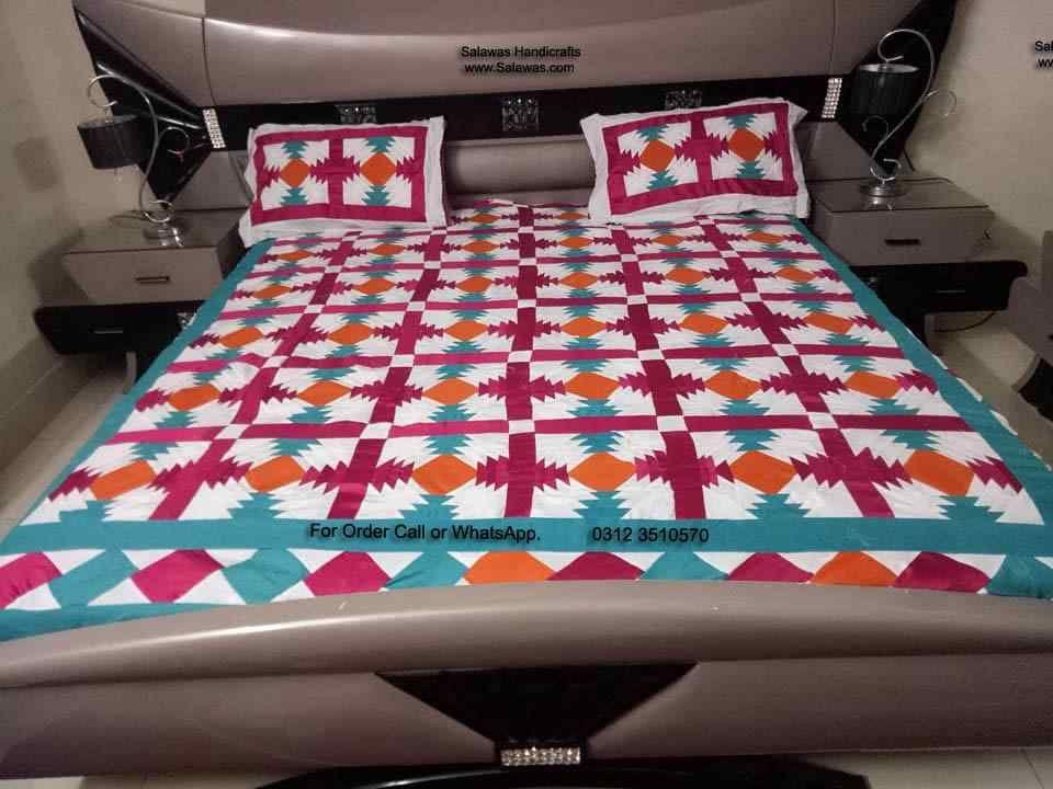 The applique work bed sheet modern handmade ralli designs